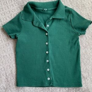 Green button up T